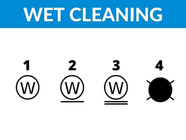 wet cleaning symbols